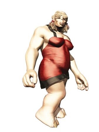 slinky: Female troll in slinky red mini dress isolated on white