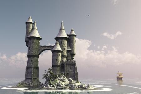 arcos de piedra: Cuento de hadas castillo en la pequeña isla con el barco de vela en la distancia