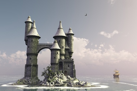 turrets: Fairytale castle on small island with sailing ship in the distance