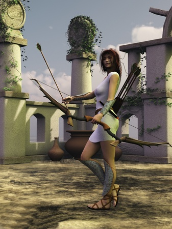 Rendered image of the ancient Greek goddess Artemis known as Diana to the Romans photo