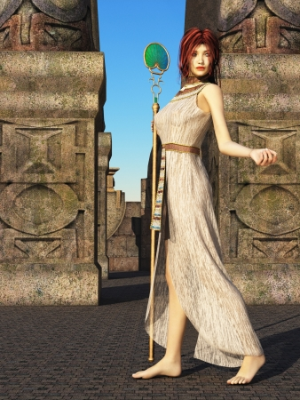 priestess: Fantasy red haired woman with green eyes at entrance to stone maze