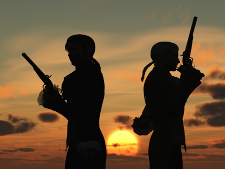 flintlock: Two young men back to back with duelling pistols in silhouette against the dawn  preparing to take ten paces turn and fire Stock Photo