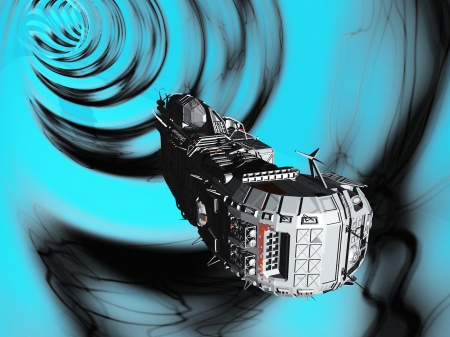 Science fiction spacecraft travelling faster than light by traversing wormhole in space Stock Photo