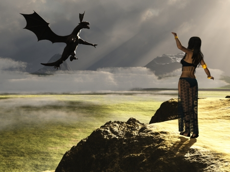 woman flying: Fantasy render depicting beautiful scantily clad female calling to dragon from cliff top