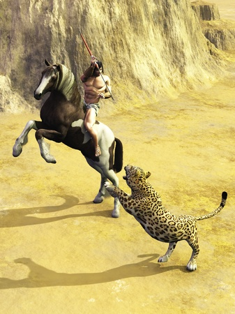 Ancient warrior or hunter riding bareback on rearing horse preparing to throw spear at attacking jaguar photo