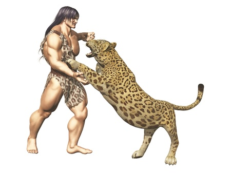 Muscular Tarzan or caveman figure in fur loincloth wrestling with large wild cat isolated on white photo