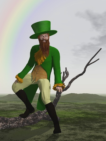 Leprechaun for St Patricks Day dressed in green with rainbow in the background