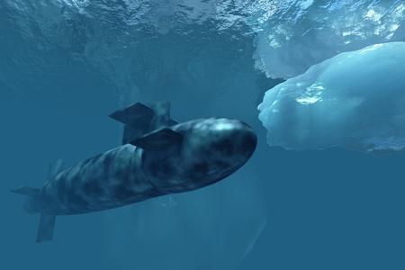 submarino: Submarino por debajo de los hielos polares