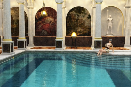 Roman lady relaxes by pool in ornate Roman bath house