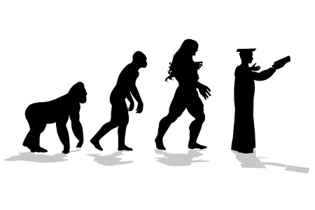 proto: Silhouetted figures of ape through proto human and caveman to educator Stock Photo