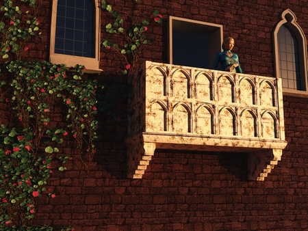 Based on the play by William Shakespeare and the actual building in Verona, Juliet stands gazing from her balcony