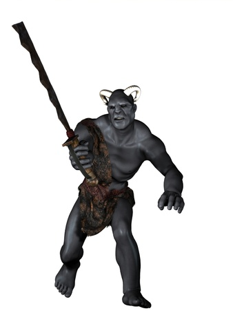 Horned orc warrior with crude rusty sword Stock Photo