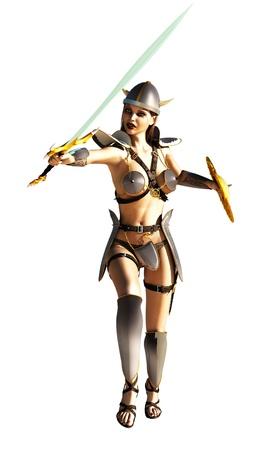 thrust: Fantasy female warrior executing sword thrust