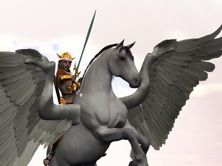 pegaso: Valkyrie mitológica nórdica doncella guerrera en el caballo alado