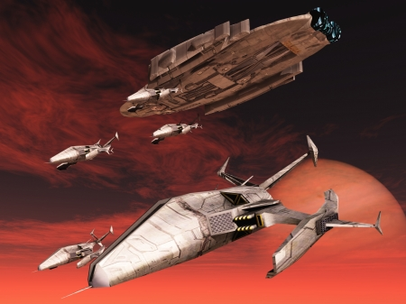 Squadron of fighters descend from space cruiser photo