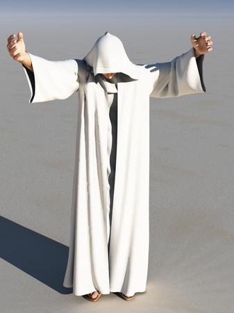 moine: L'image de l'homme Rendus à long manteau blanc à capuchon avec le visage en grande partie cachée tendre la main