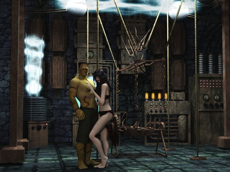 scanty clothing: Frankenstein monster and sexy female vampire embracing in mad scientist lab