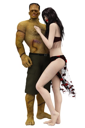 Frankenstein monster and sexy female vampire embracing