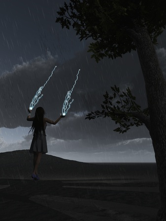 Female Sorceress Throwing Lightning Bolts At Dark Clouds Stock Photo