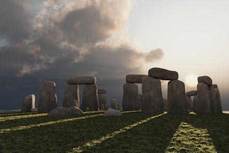 standing stones: Low winter sun illuminates megalithic circle of standing stones