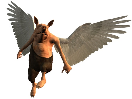 winged: Digital render of pig with white wings flying