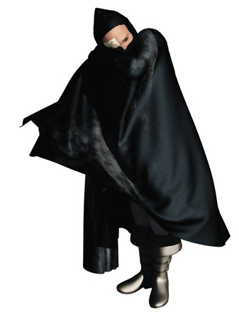 Rendered image of half masked man in hooded cloak the phantom of the opera Stock Photo