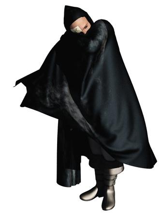 오페라의 유령 후드 망토 절반 마스크 남자의 이미지를 렌더링