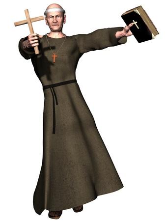priests: Elderly monk brandishing cross and bible