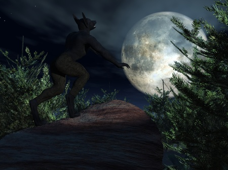 Werewolf howling at moon
