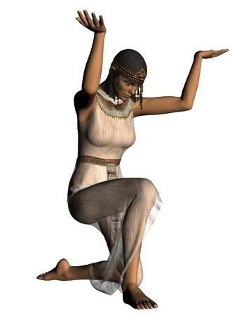 esclavo: Niña de la antigua esclava egipcia inclinándose Foto de archivo