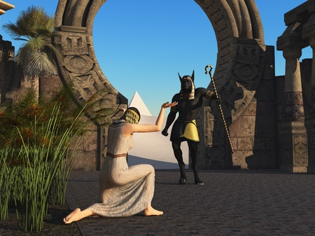 egypt anubis: Slave greets Anubis on his return from the desert Stock Photo