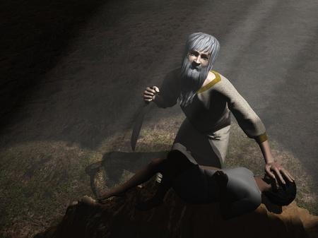 sacrifices: God intervenes before Abraham sacrifices Isaac