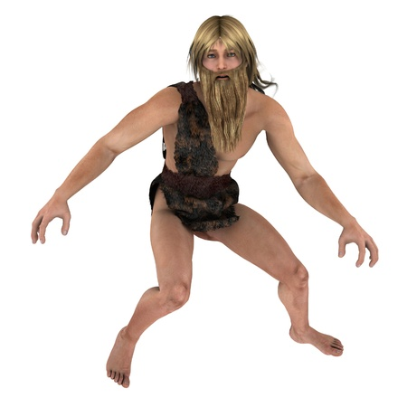 stone age: Bearded blond fantasy cavemen in fur loincloth Stock Photo