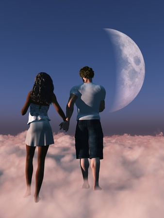 Couple holding hands while walking on clouds photo