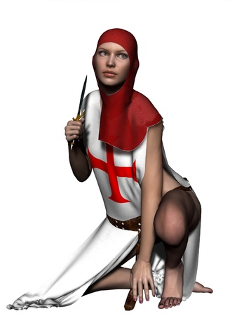 crusader: Woman in templar coif and tabard holding a dagger