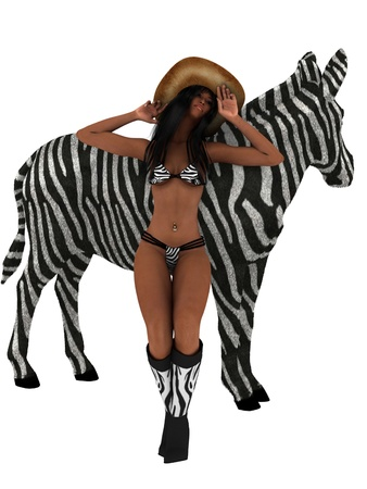 Woman in zebra print lingerie and boots with zebra photo