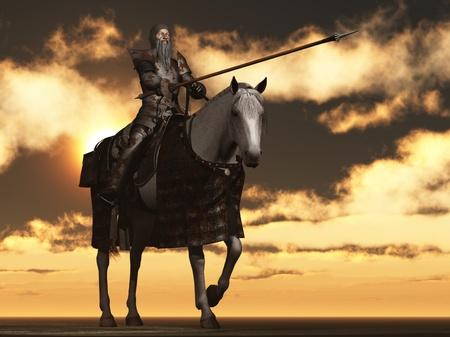 mounted: Don Quichot in roestige wapenrusting op de vlo gebeten lader Stockfoto