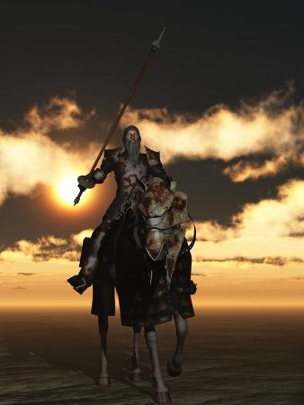 don quixote: Don Quijote en la armadura oxidada en el cargador de mordida de pulgas