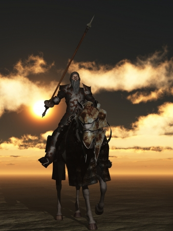 don quixote: Don Quixote in rusty armour on flea bitten charger Stock Photo
