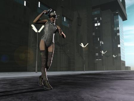 Sexy scifi  bounty hunter patrolling city streets photo