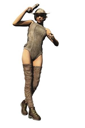 bounty: Sexy scifi cazador de recompensas con el casco y la pistola celebraci�n visor Foto de archivo