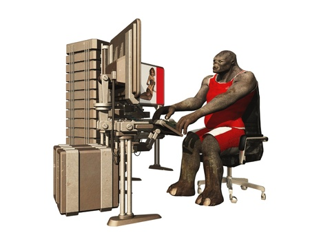 trolling: Rendered image of troll in vest and shorts trolling internets forums on his workstation
