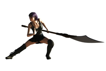 Sexy fantasy female in fighting posture with long handled bladed weapon Stock Photo