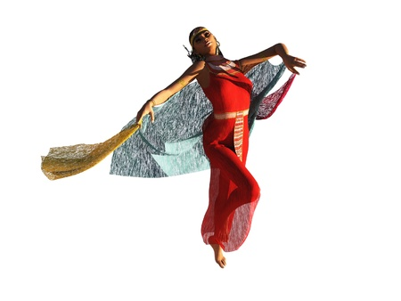 Rendered image of girl in ancient Egyptian clothing performing the dance of the seven veils