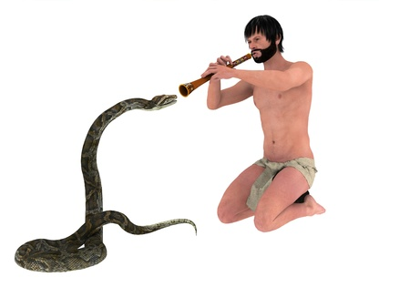Bearded snake charmer in loincloth playing flute to swaying snake  photo