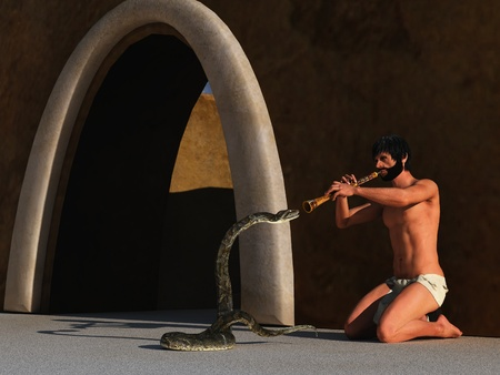 loincloth: Bearded snake charmer in loincloth playing flute to swaying snake