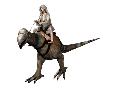 Sci-fi render of cloaked female rider on dinosaur like mount
