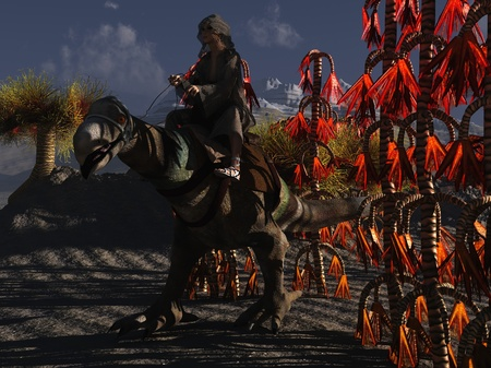 Sci-fi render of cloaked female rider on dinosaur like mount in alien landscape photo