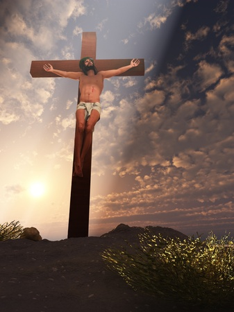 Rendered digital interpretation of Christ crucified with beam of heavenly light Stock Photo