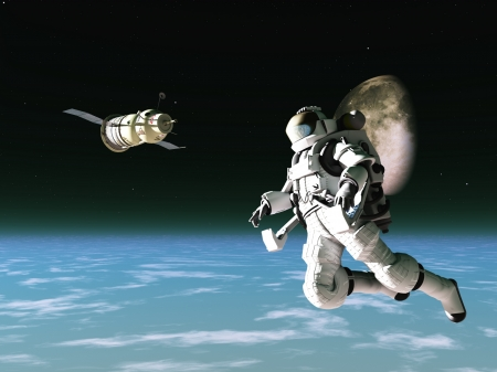 Spacesuited astronaut with satellite in low orbit Stock Photo